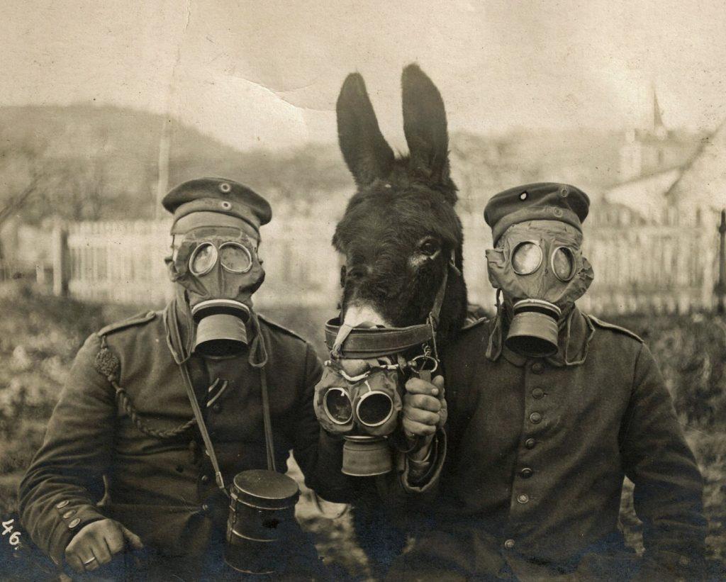 German Soldiers in Gas Masks