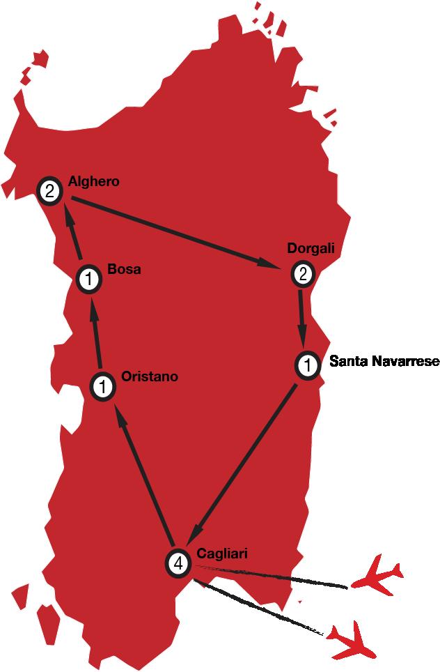 Map of Sardinia Tour